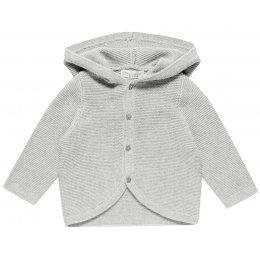 Sense Organics Paul Hooded Long Sleeved Baby Cardigan - Grey Melange