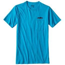 Patagonia Nightfall Fitz Roy Pocket T-Shirt - Grecian Blue