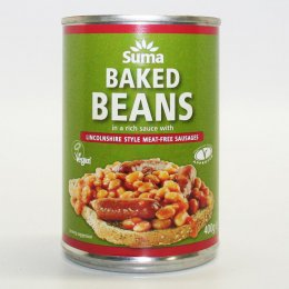 Suma Baked Beans with Linconshire Style Meat-Free Sausages - 400g