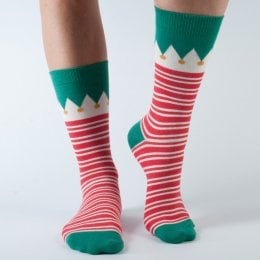Doris & Dude Red Stripe Christmas Bamboo Socks - UK3-7