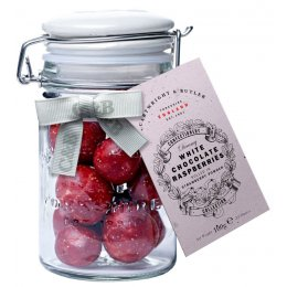 Cartwright & Butler Raspberries In White Chocolate & Strawberry Powder - 100g