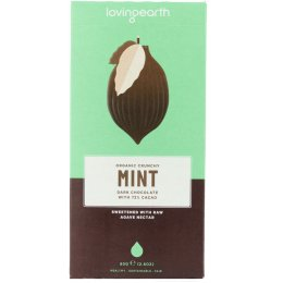 Loving Earth Crunchy Mint Dark 71 percent  Cacao Raw Chocolate - 80g