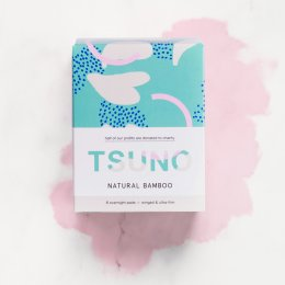 Tsuno Bamboo Overnight Pads - Ultra Thin & Winged - 8