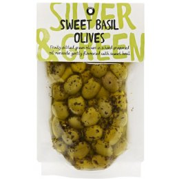 Silver & Green Sweet Basil Olives - 220g