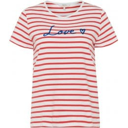 People Tree Love Stripe T-Shirt - Red
