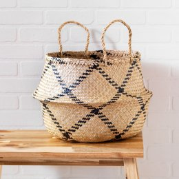 Natural & Black Rice Woven Storage Basket