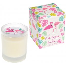 Flamingo Bay Boxed Scented Soy Candle - Pink Papaya & Coconut