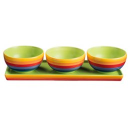 Handpainted Rainbow Stripe Tapas Bowls - Set of 3