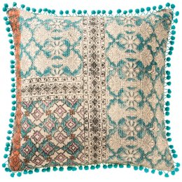 Tribal Indian Embroidered Pompom Trim Cushion - 50 x 50cm