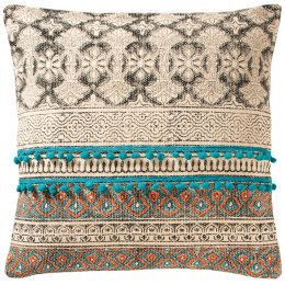 Tribal Indian Embroidered Pompom Stripe Cushion - 50 x 50cm