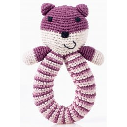 Organic Baby Teddy Bear Toy Rattle - Soft Purple