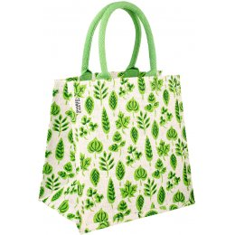 Jute Shopping Bag - Green Leaf Print