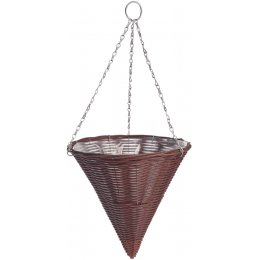 Rattan Effect Brown Hanging Cone