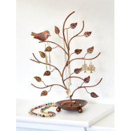Recycled Metal Tree & Bird Jewellery Stand
