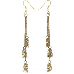 Fair Trade Gold Colour Tassel Drop Earrings