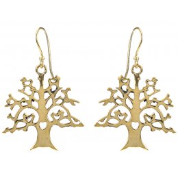 Fair Trade Gold Colour Tree Drop Earrings