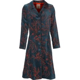 Nomads Embroidered Velvet Coat - Petrol