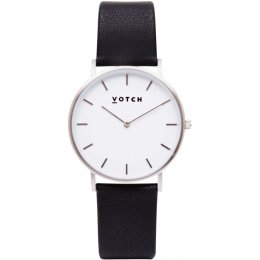 Votch Classic Collection Vegan Leather Watch - Black & Silver
