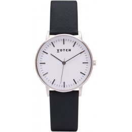 Votch New Collection Vegan Leather Watch - Black & Silver