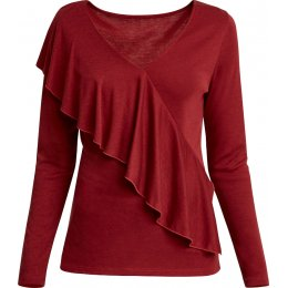 People Tree Tencel & Organic Cotton Brianna Frill Top - Wine