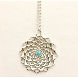 Inkana Silver Flower Necklace - Turquoise