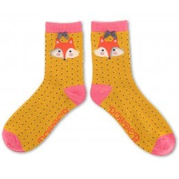 Powder Bamboo Fox Ankle Socks