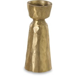 Jahi Brushed Gold Brass Candlestick - Small