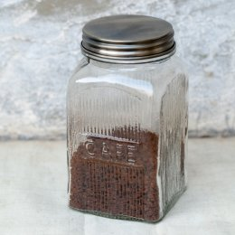 Glass Cafe Coffee Jar