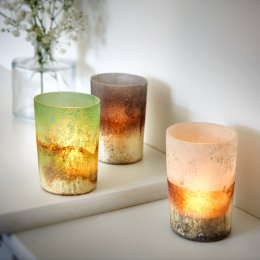 Frosted Dip-Dyed Votive Candle Holders - White, Dark Blue & Light Green