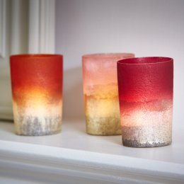 Frosted Dip-Dyed Votive Candle Holders - Pink, Orange & Red