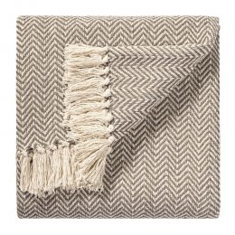 Chevron Soft Cotton Handloom Throw - Beige