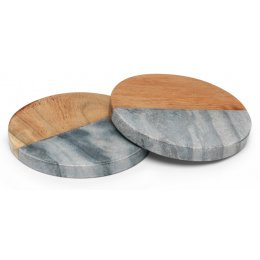 Grey Marble & Wood Coasters