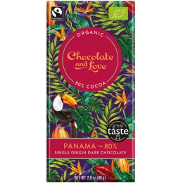 Chocolate & Love Organic & Fairtrade Panama 80 percent  Dark Chocolate Bar - 80g
