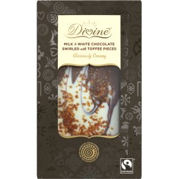 Divine Gift Bar Milk & White Chocolate with Toffee Pieces - 90g