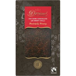 Divine Gift Bar 70 percent  Dark Chocolate with Chilli & Toffee Pieces - 90g