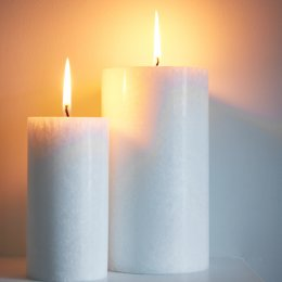 White Marble Pillar Candle - Large