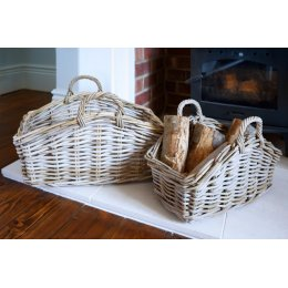 Natural Grey Rattan Baskets - Set of 2