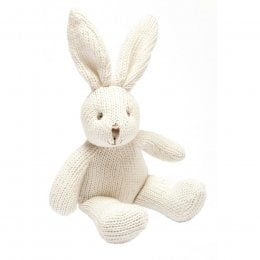 Organic Cotton Knitted Bunny Rabbit Rattle Toy - White