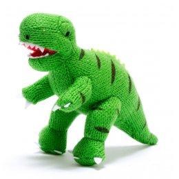 Knitted T-Rex Dinosaur Rattle Toy