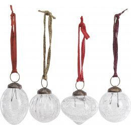 Clear Crackle Snow Drop Baubles - Set of 4