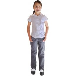 Girls Classic Fit Trousers - Grey - 4yrs
