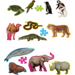 WWF Head To Tail 12 Animal Shaped Jigsaw Puzzles