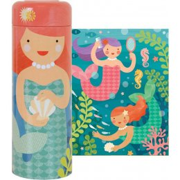 Petit Collage 64-Piece Tin Canister Puzzle - Playful Mermaids