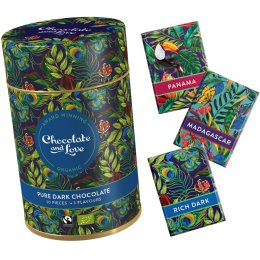Chocolate & Love Gift Tin - Pure Dark - 3 Flavours - 30 x 5.5g