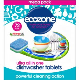 Ecozone Ultra All-In-One Dishwasher Tablets - 72 tabs