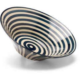 Hand Painted Striped Serving Bowl