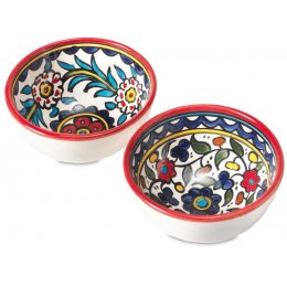 Hand Painted Floral Snack Bowls - Set of 2