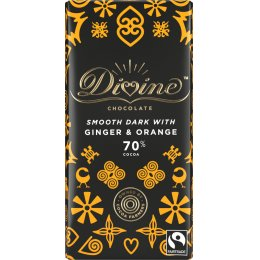 Divine 70 percent  Dark Chocolate with Ginger & Orange - 90g