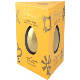 Divine Luxury 70 percent  Dark Chocolate Easter Egg with Salted Caramel Mini Eggs - 260g