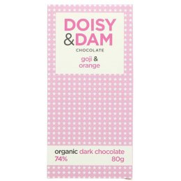 Doisy & Dam Organic Dark Chocolate Goji & Orange Bar - 80g